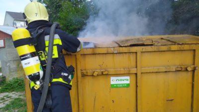 Mogilno – Pożar kontenera